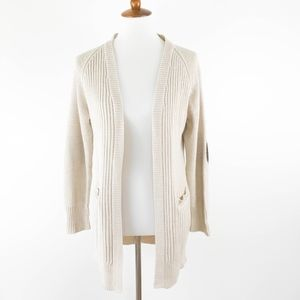RD Style Open Cardigan Sweater Small Elbow Patch